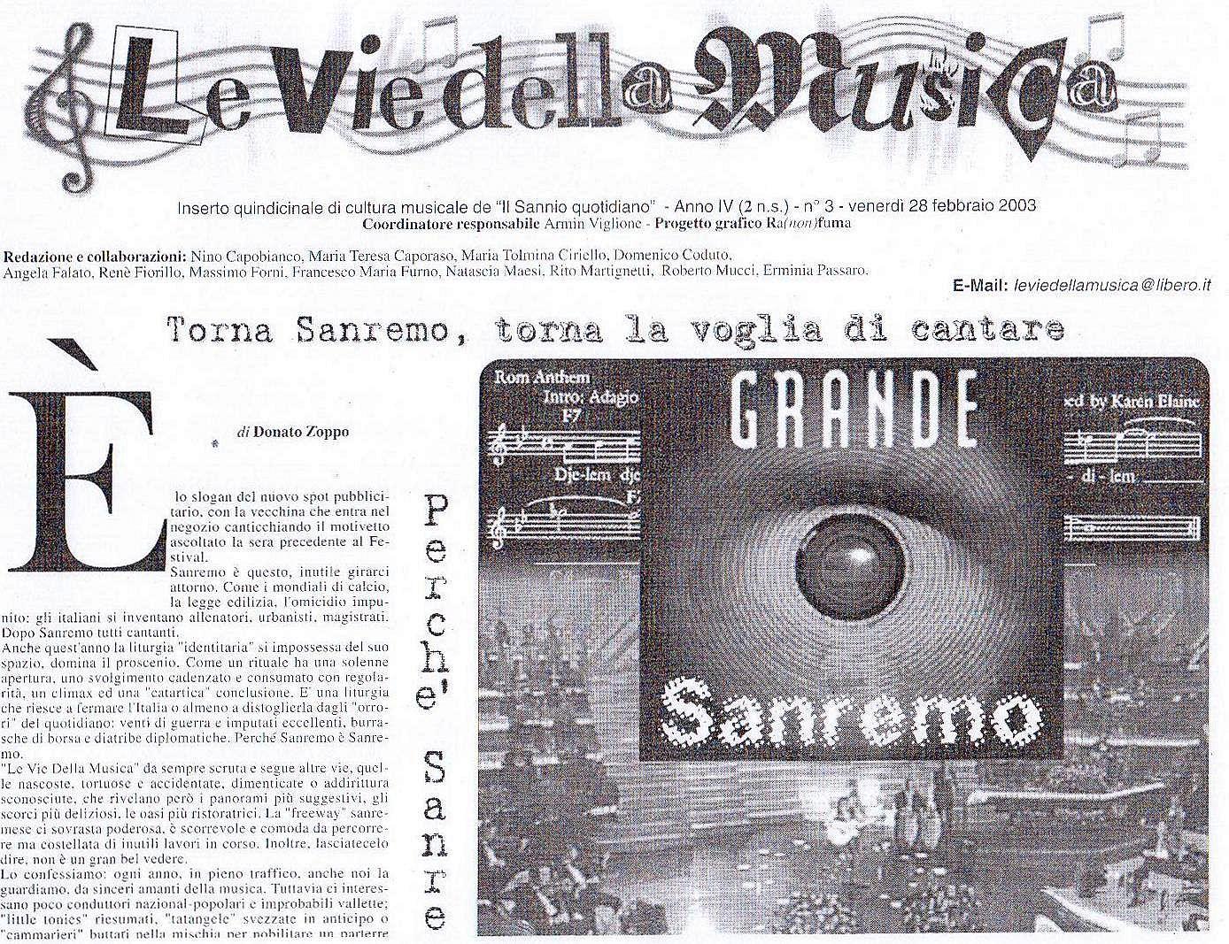 Vie della musica 28 febbraio 2003